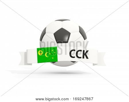 Flag Of Cocos Islands, Football With Banner And Country Code