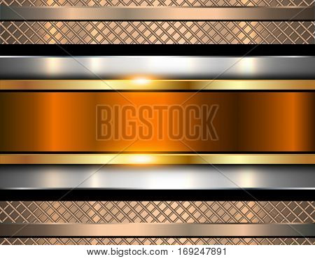 Background metallic, shiny orange metal texture, vector illustration.
