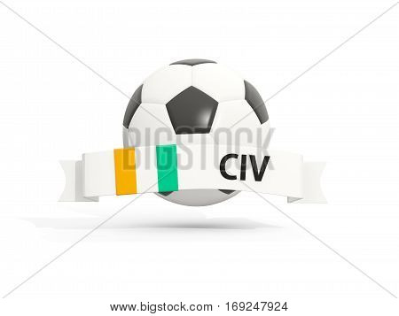 Flag Of Cote D Ivoire, Football With Banner And Country Code
