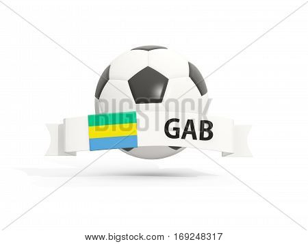 Flag Of Gabon, Football With Banner And Country Code