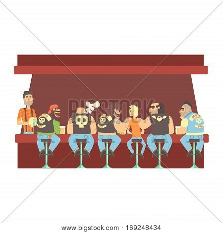 Gang Of Bikers And One Skinny Young Guy Stting At The Counter With Calm Barmen Behind , Beer Bar And Criminal Looking Muscly Men Having Good Time Illustration. Part Of Series Of Dangerous Chunky Guys At The Pub Having Drinks Cool Vector Drawings.