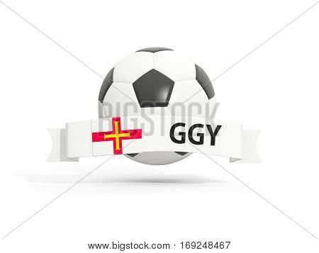 Flag Of Guernsey, Football With Banner And Country Code