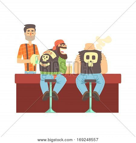 Two Bikers Chatting At The Counter In Leather Vests And Jeans , Beer Bar And Criminal Looking Muscly Men Having Good Time Illustration. Part Of Series Of Dangerous Chunky Guys At The Pub Having Drinks Cool Vector Drawings.