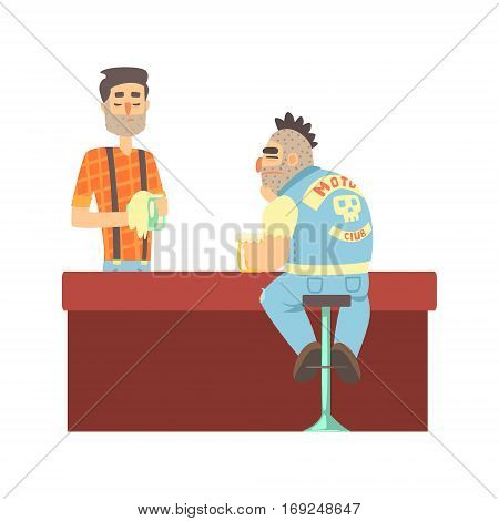 Lonly Biker Gang Member In Jeans Outfit At The Counter With Calm Barman, Beer Bar And Criminal Looking Muscly Men Having Good Time Illustration. Part Of Series Of Dangerous Chunky Guys At The Pub Having Drinks Cool Vector Drawings.