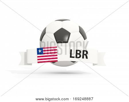 Flag Of Liberia, Football With Banner And Country Code