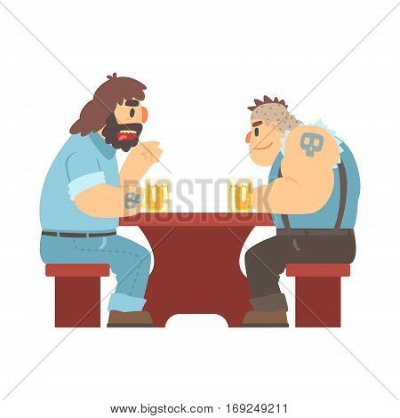 Two Gang Members With Tattooes Talking At The Table, Beer Bar And Criminal Looking Muscly Men Having Good Time Illustration. Part Of Series Of Dangerous Chunky Guys At The Pub Having Drinks Cool Vector Drawings.