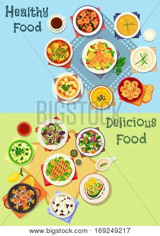 Tasty lunch menu icon set of seafood paella with pasta, salads with shrimp, chicken, cheese, vegetable, fruit, beef and avocado, soups with vegetable, meatball and bean, prawn stew with bacon