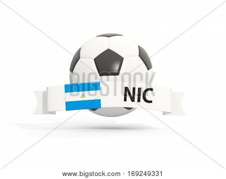 Flag Of Nicaragua, Football With Banner And Country Code