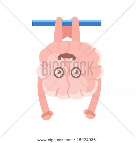 Humanized Brain Hanging On The Bar Upside Down, Intellect Human Organ Cartoon Character Emoji Icon. Human Mind And Lifestyle Emoticon Illustration Showing Intellectual Brainpower.