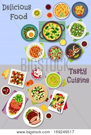 Healthy food icon set with vegetable and fruit salads with egg, duck and crab, baked meat and fruit with cheese, rice dishes with fish, lamb, veggies, cucumber soup, fried egg with chilli, veggies pie