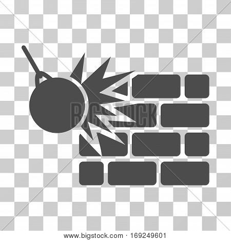 Destruction icon. Vector illustration style is flat iconic symbol gray color transparent background. Designed for web and software interfaces.