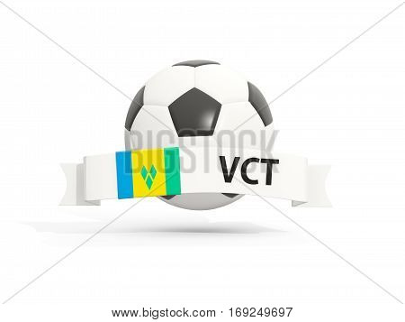 Flag Of Saint Vincent And The Grenadines, Football With Banner And Country Code