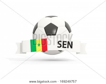 Flag Of Senegal, Football With Banner And Country Code