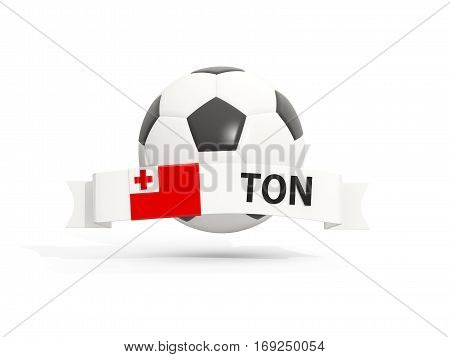 Flag Of Tonga, Football With Banner And Country Code
