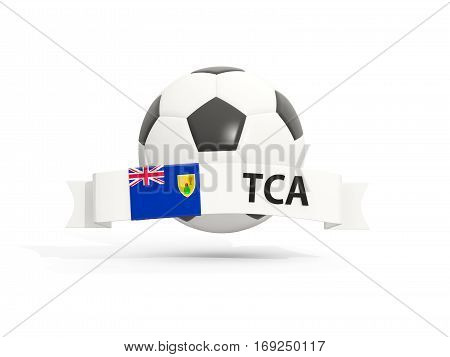 Flag Of Turks And Caicos Islands, Football With Banner And Country Code