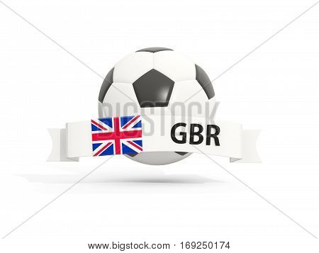 Flag Of United Kingdom, Football With Banner And Country Code