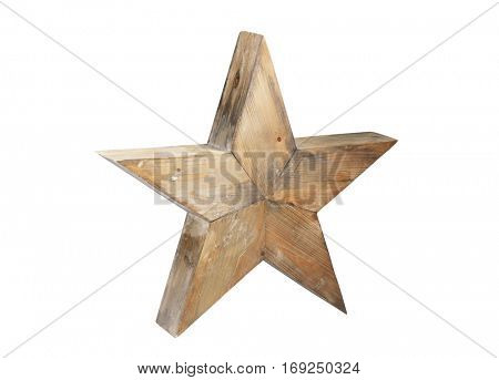 Wooden star isolated on white background with clipping path