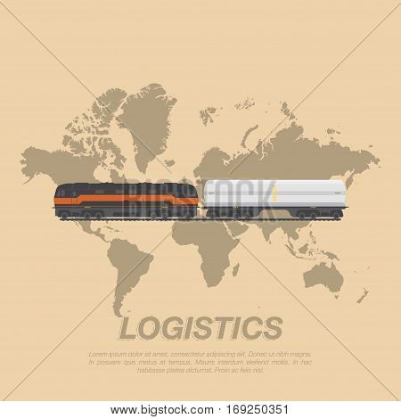 Train on the tracks with a tank for transport of liquid cargo on the background of the world map. Logistic concept flat vector illustration for business.