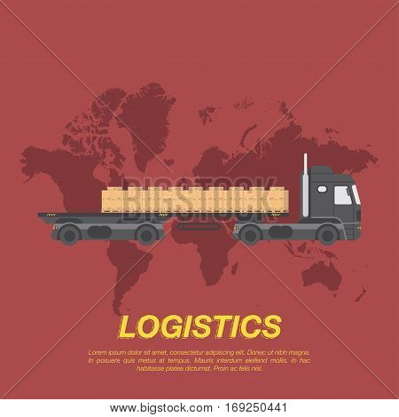 Big truck with trailer and cargo on pallets in the background of the world map. Logistic concept flat vector illustration for business.