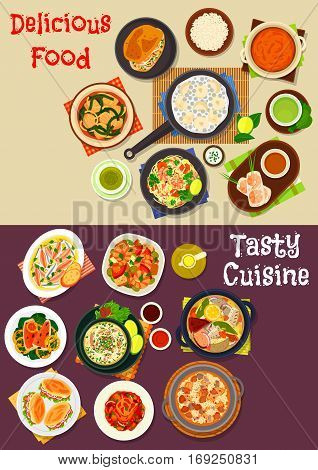 Seafood dishes icon set of fish, beef and spinach soups, seafood rice, spring roll, shrimp noodle and salad, rice pancake, vegetable stew with tuna, fish sandwich, pumpkin curry, fried fish with lemon