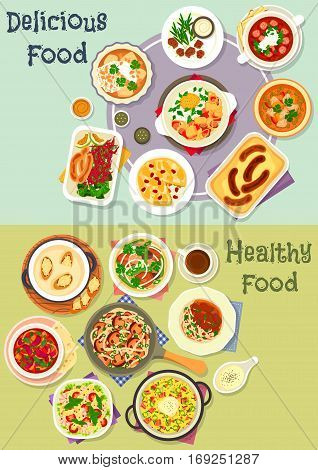 Tasty snacks icon set of noodles with mushroom and beef, fish vegetable and meat stews, sausages with cabbage salad, fried egg and cheese, shrimp pasta salad, cheese fondue, chicken soup, savory pies