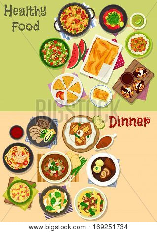 Lunch and dinner icon set with baked chicken, beef roll and pork, rice and noodle with meat, vegetables and fish, shrimp salad, chocolate cake, bacon and tofu soup, apple pancake, fish pie, cheesecake