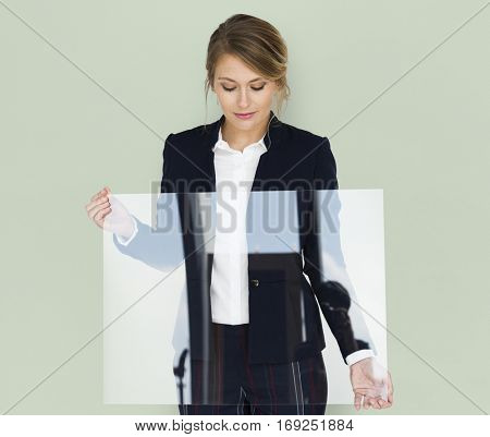 Businesswoman Smiling Happiness Holding Clear Placard Copy Space Concept