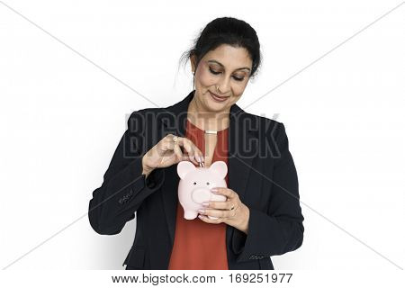 Woman Smiling Happiness Piggy Bank Concept