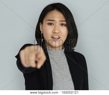 Young Asian Business Woman Pointing Angry
