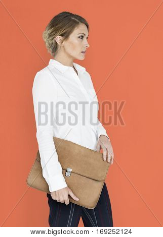 Business Woman Side View Briefcase Concept