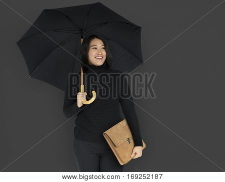 Young Asian Business Woman Wearing Black