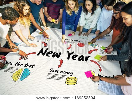 New Year Plan Goals Concept