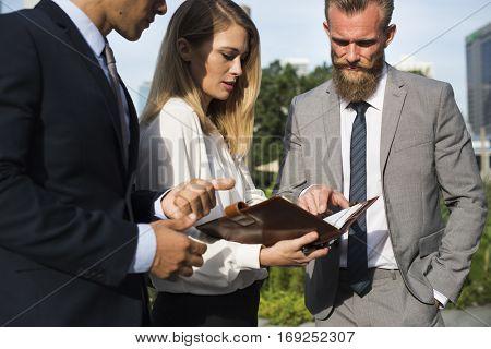 Businesspeople Men Women Talk Discussion