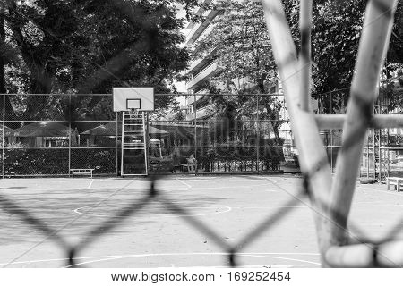 Old School Basketball Court Selective Focus Black and White