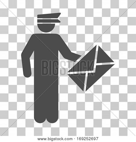 Postman icon. Vector illustration style is flat iconic symbol gray color transparent background. Designed for web and software interfaces.