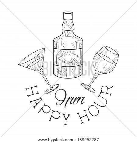 Bar Happy Hour Promotion Sign Design Template Hand Drawn Hipster Sketch With Whiskey Bottle, Martini And Wine Glasses. Cool Illustration With Advertisement Elements For The Cafe Free Drinking Time.