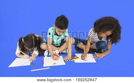 Little Children Drawing Sketching Concept