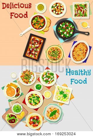 Tasty dishes for lunch menu icon set of vegetable salads with chicken, cheese, seafood, olive and nuts, tomato pasta, chilli bean stew, veggies soup, rice pilaf, mushroom and pear pies, veggies sauce