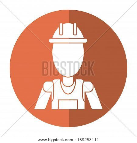man with helmet uniform work professional contractor shadow vector illustration eps 10