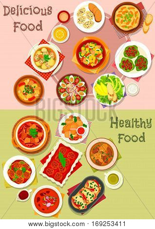 Meat dishes icon set of meat salad with vegetable, fruit and cheese, beef stew, meat soups and stews with vegetables, meatball and bean, baked pork and chicken meatloaf, battered fish, meatball