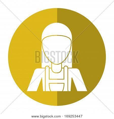 worker woman carpentry helmet shadow vector illustration eps 10