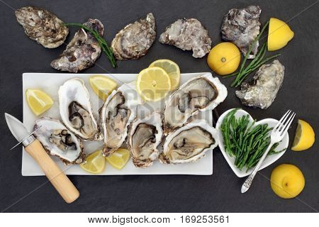 Oysters on crushed ice with oyster knife and silver fork with lemon fruit and samphire  in a porcelain dishes on a slate.