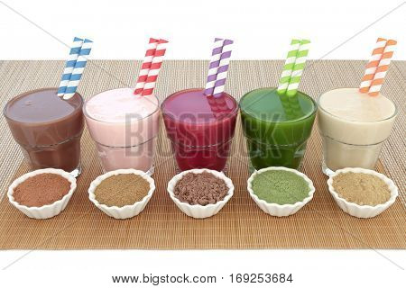 Health food drinks with powders of chocolate maca, pomegranate fruit, acai berry, wheatgrass and maca root. Also used by body builders.