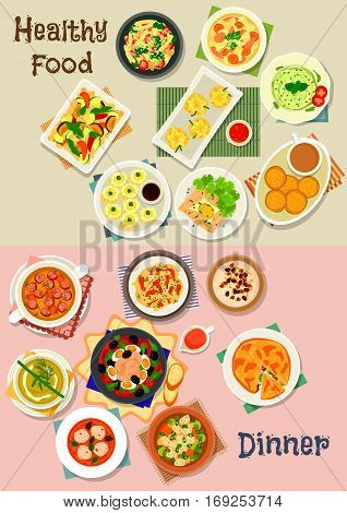 Healthy meal icon set of vegetable soups with meat, sausage and meatball, pasta with cheese, veggies, nut and basil sauce, shrimp and meat dumplings, tuna salad, chicken pie, cookie, semolina dessert