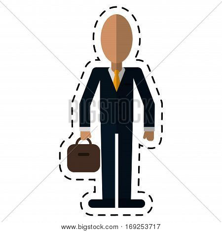 business man suit necktie and portfolio-dot line vector illustration eps 10