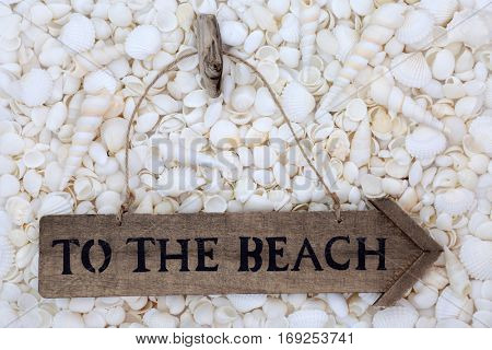 Rustic wooden to the beach sign on a variety of white shells.