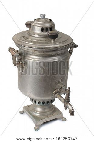Vintage metal samovar on a white background