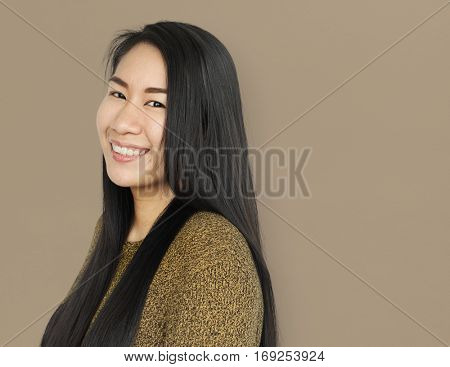 Asian Woman Cheerful Smiling Concept