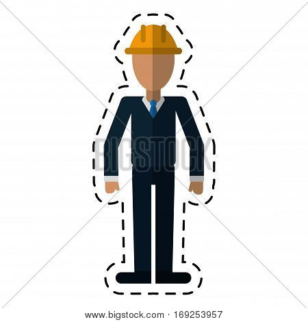 business man helmet contruction manager-dot line vector illustration eps 10