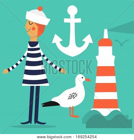 Vector set. Cartoon sailor, lighthouse, Seagull and anchor.